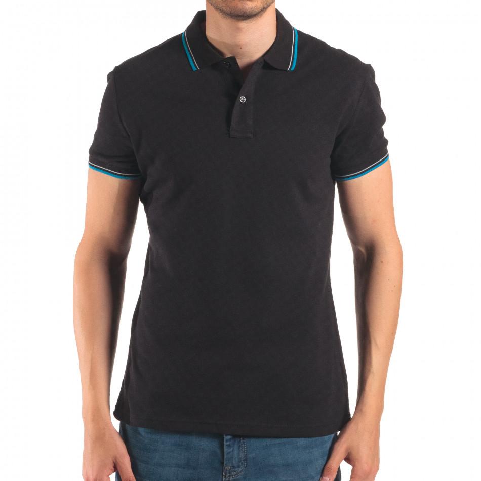 Мъжка черна тениска с яка със син и бял кант it150616-34
