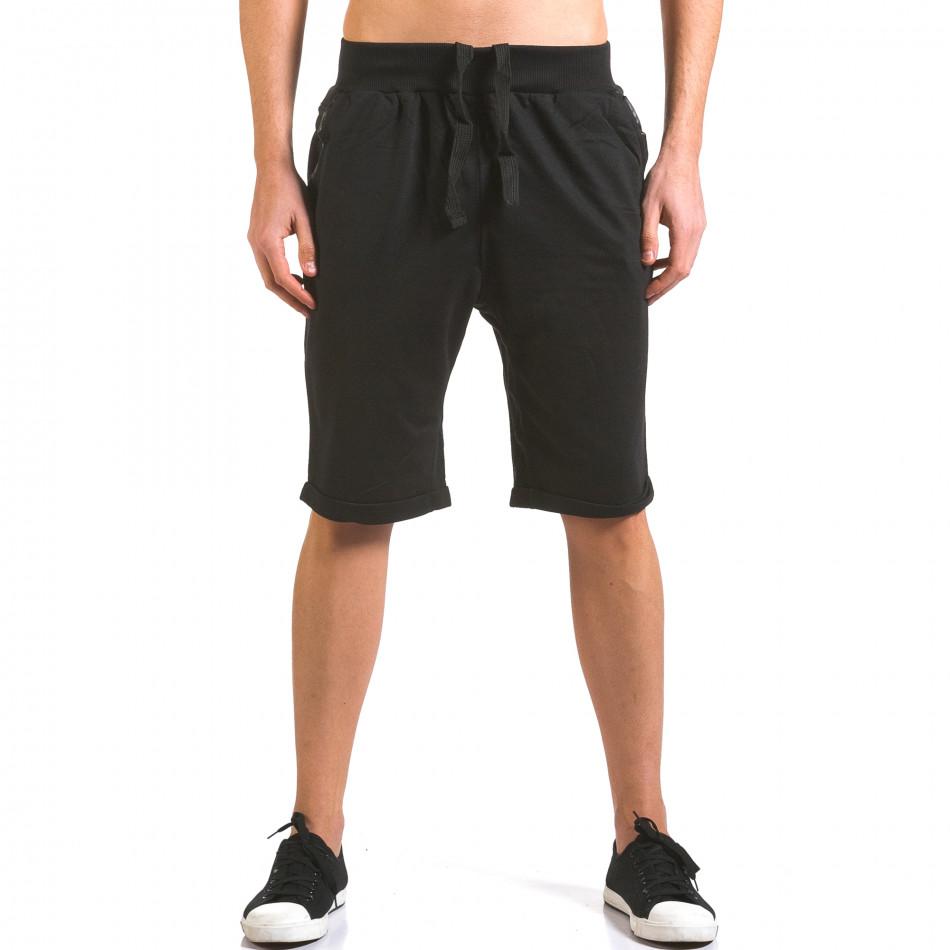 Мъжки черни шорти с кожени детайли it160316-22