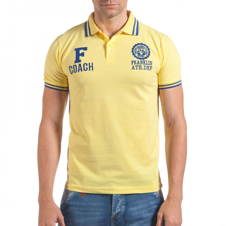 Мъжка жълта тениска с яка F Coach il060616-106