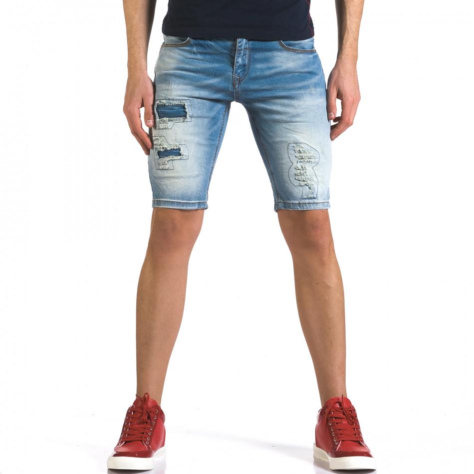 Мъжки светло сини къси дънки с декоративни кръпки it110316-63