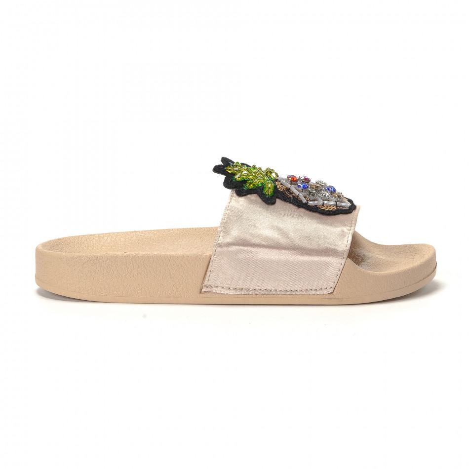 Бежови дамски чехли с ананас it230418-37
