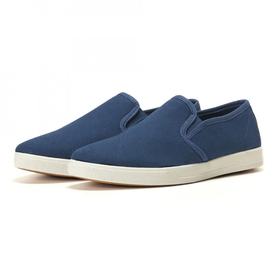 Мъжки сини кецове без връзки slip on it020617-36