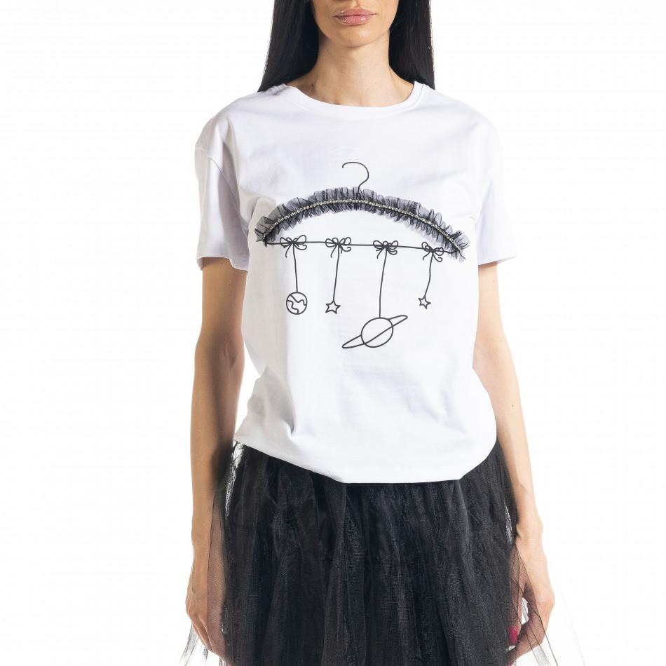 Дамска бяла тениска My Universe il080620-8