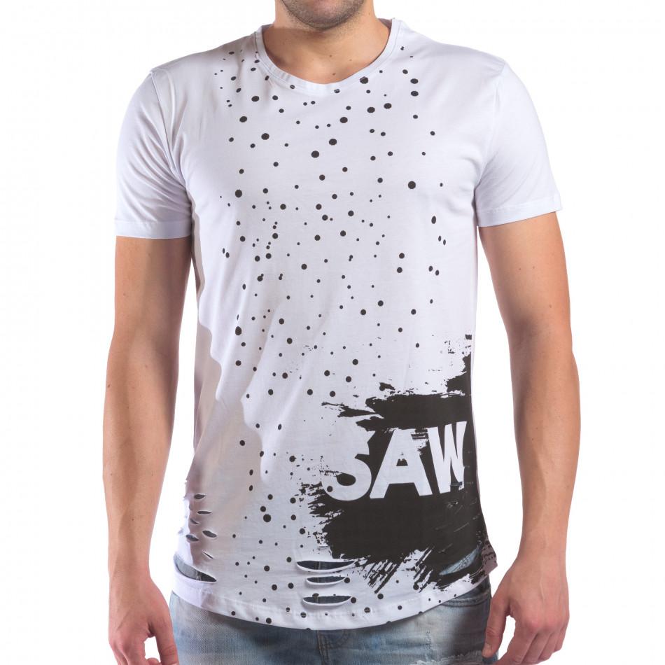 Мъжка бяла тениска със скъсвания и хипарски принт il210616-25