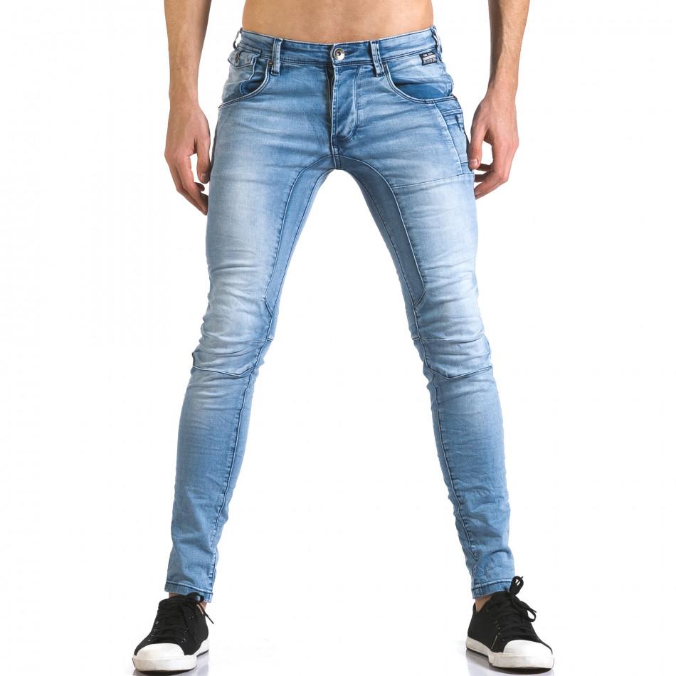 Мъжки светло сини дънки слим изчистен модел it110316-23