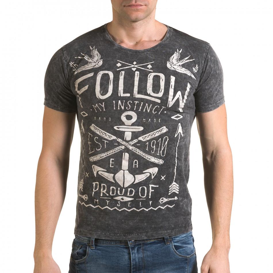 Мъжка сива тениска с надпис Follow il120216-16