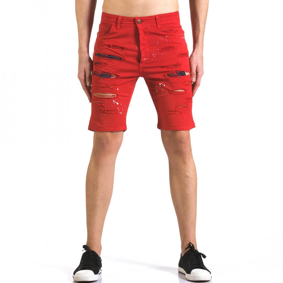 Мъжки червени къси дънки с пръски боя it110316-60