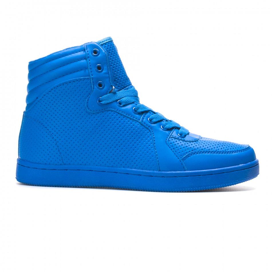 Мъжки сини високи кецове с малки кръстчета it220316-1