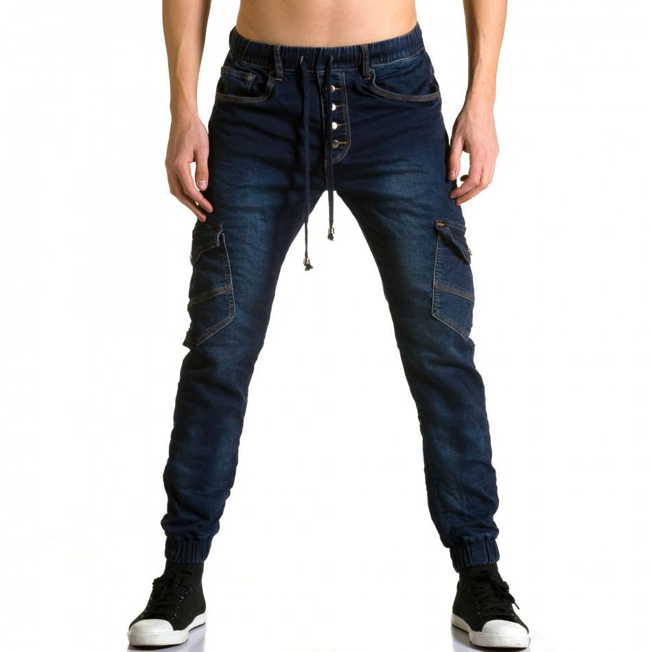 Мъжки тъмно сини дънки-долнище с джобове на крачолите ca190116-8