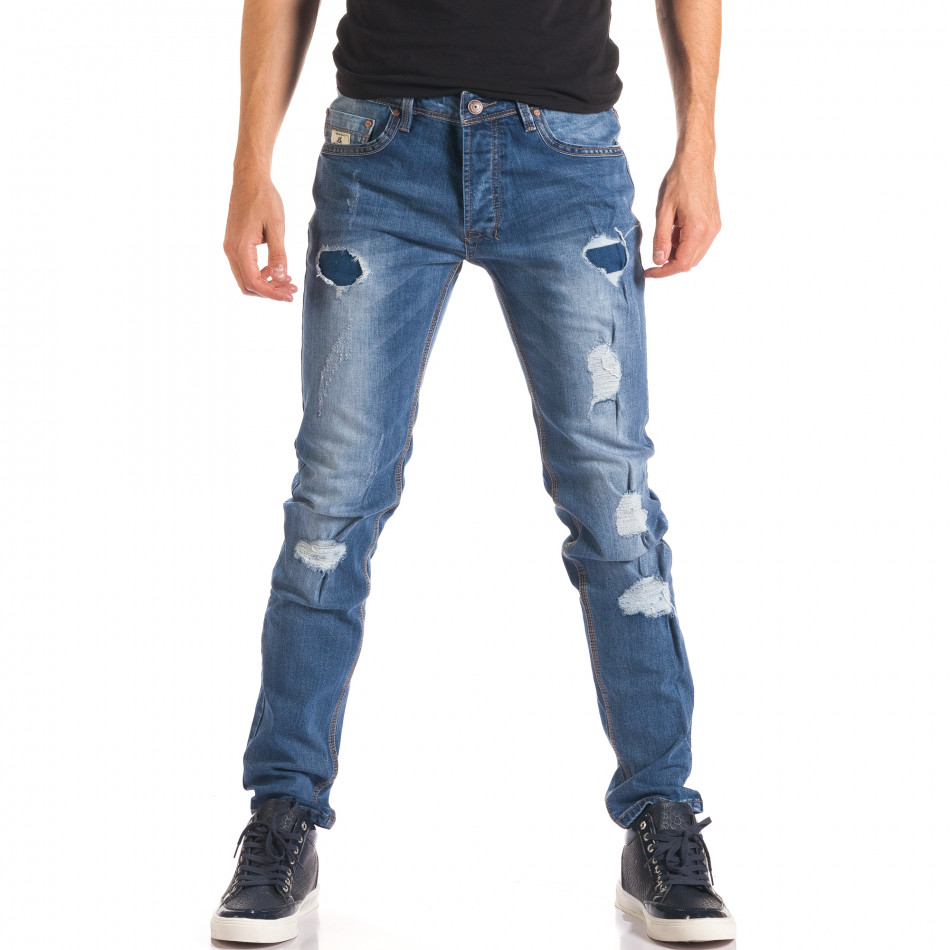 Мъжки дънки с тъмно сини кръпки it150816-29
