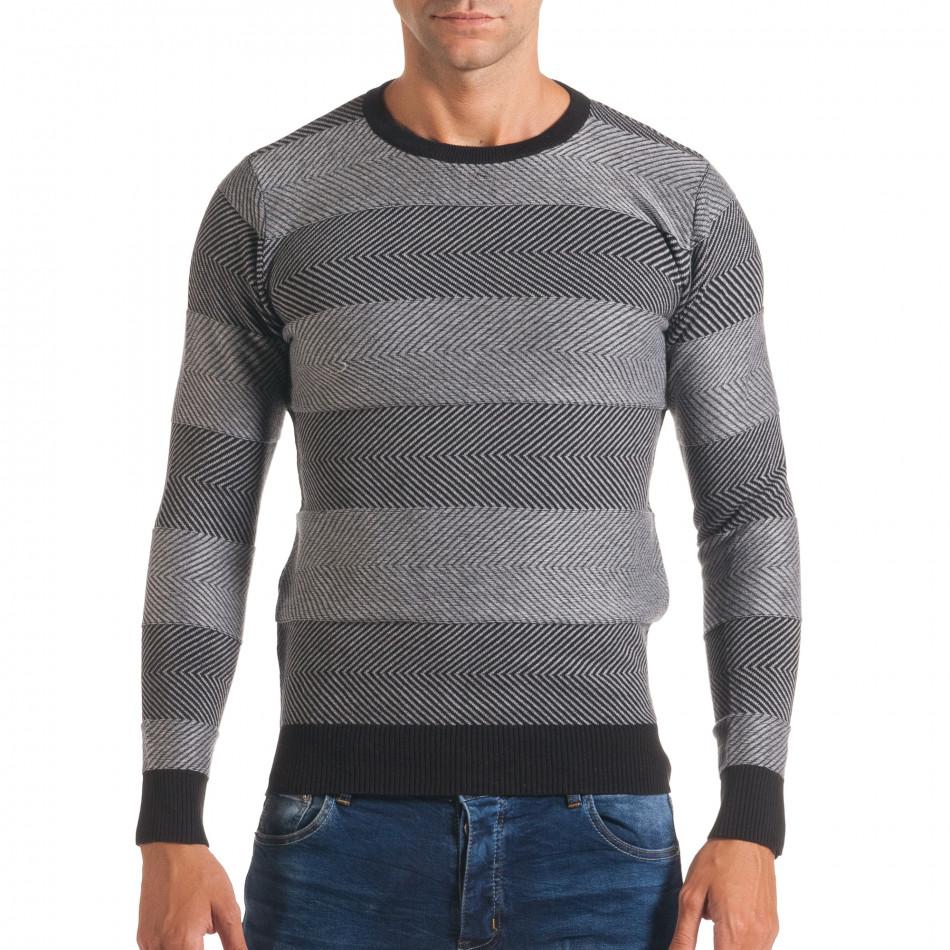 Мъжки черно- сив пуловер с фини райета it170816-3
