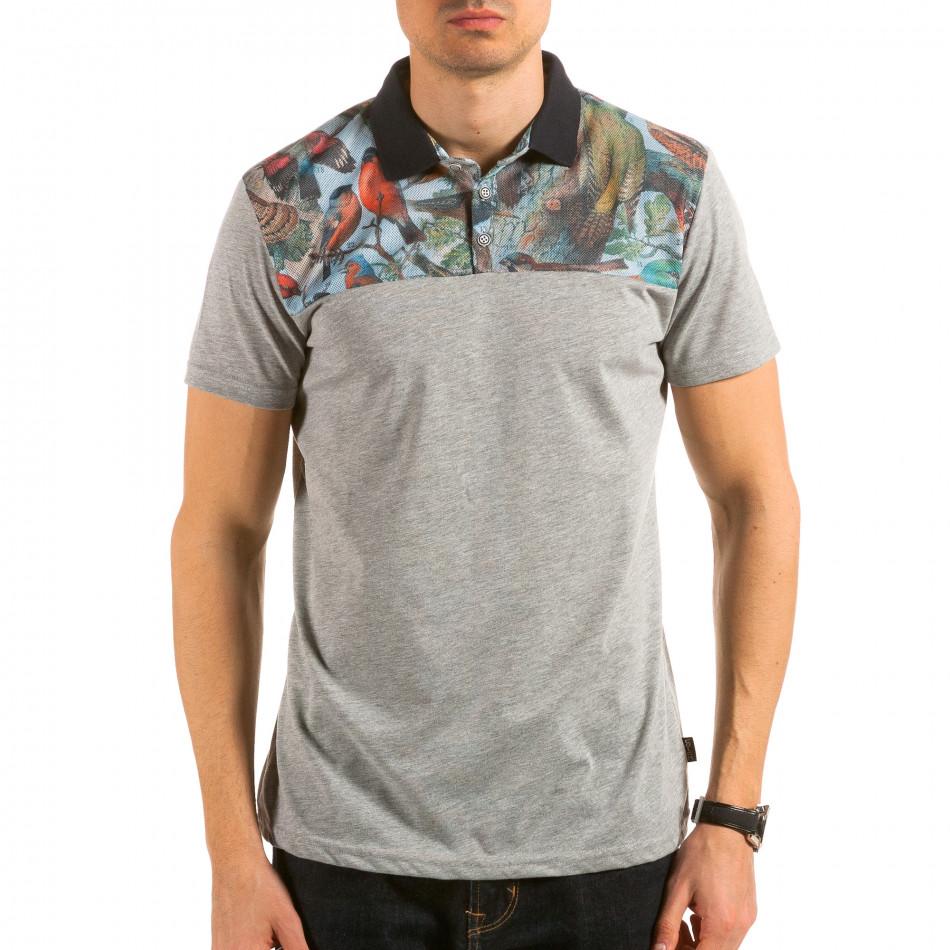 Мъжка сива тениска с яка с птици на гърдите il180215-102