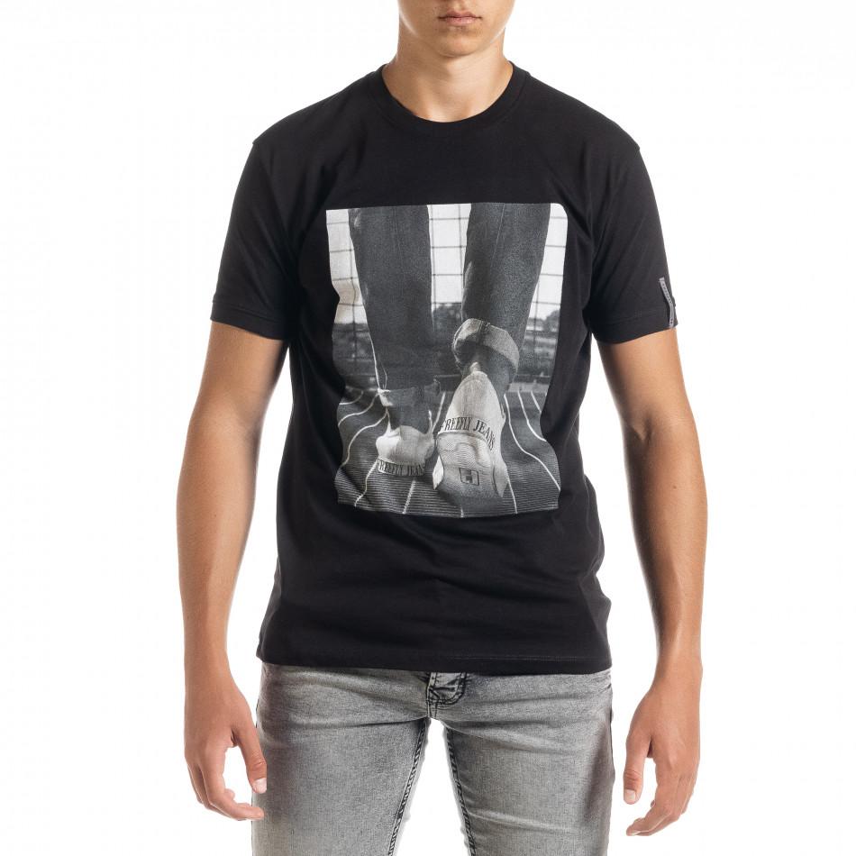 Черна мъжка тениска с принт tr010720-32