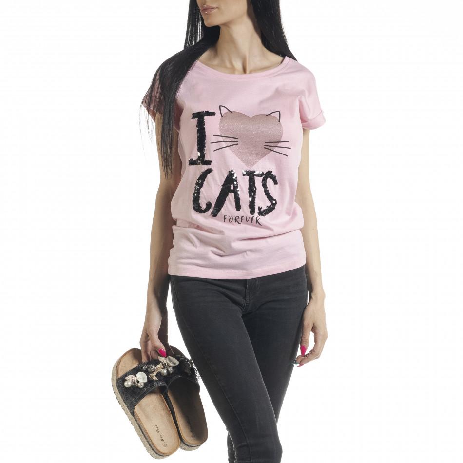 Дамска тениска с пайети в розово il080620-3
