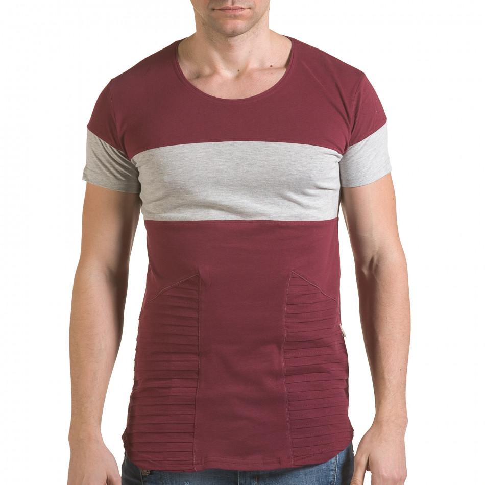 Мъжка червена тениска със сива лента il170216-75