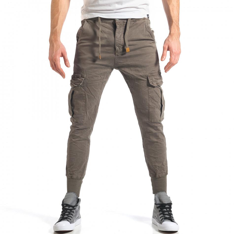 Мъжки зелен карго панталон с контрастни ленти it290118-8
