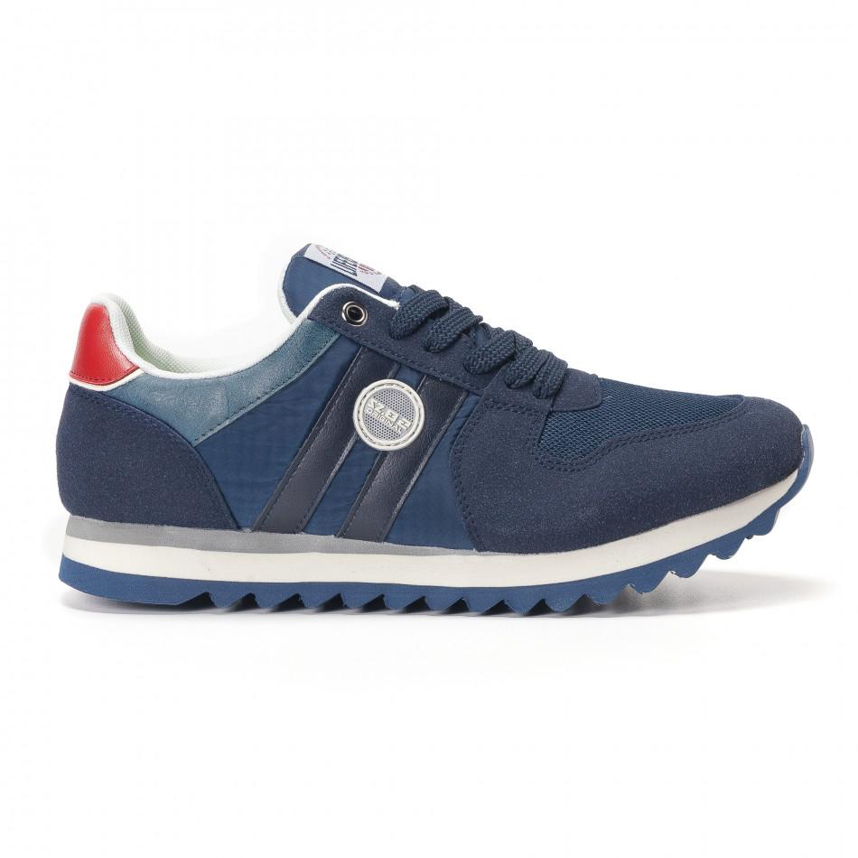 Мъжки сини маратонки с червени детайли it250118-20
