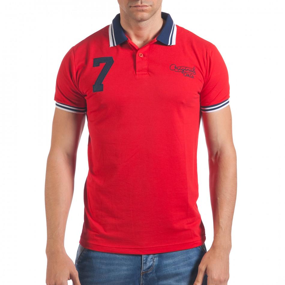 Мъжка червена тениска с яка със син номер 7 il060616-101