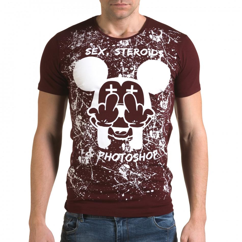 Мъжка червена тениска с Мики Маус il120216-14