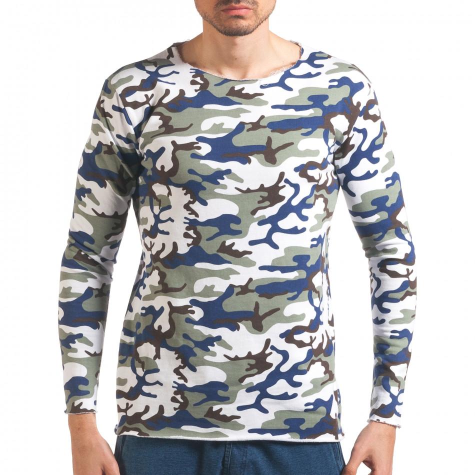 Мъжка блуза бяло-зелен камуфлаж it250416-72