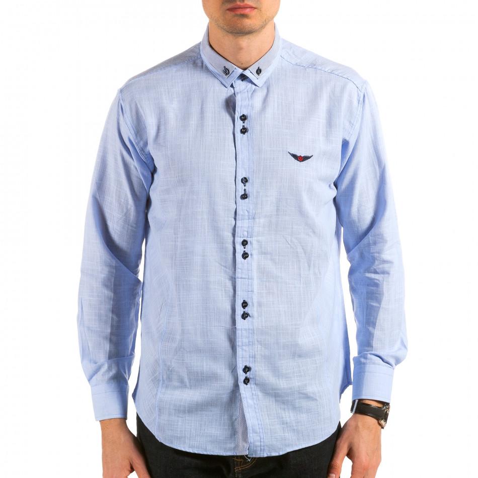 Мъжка синя риза с раирана яка il180215-172