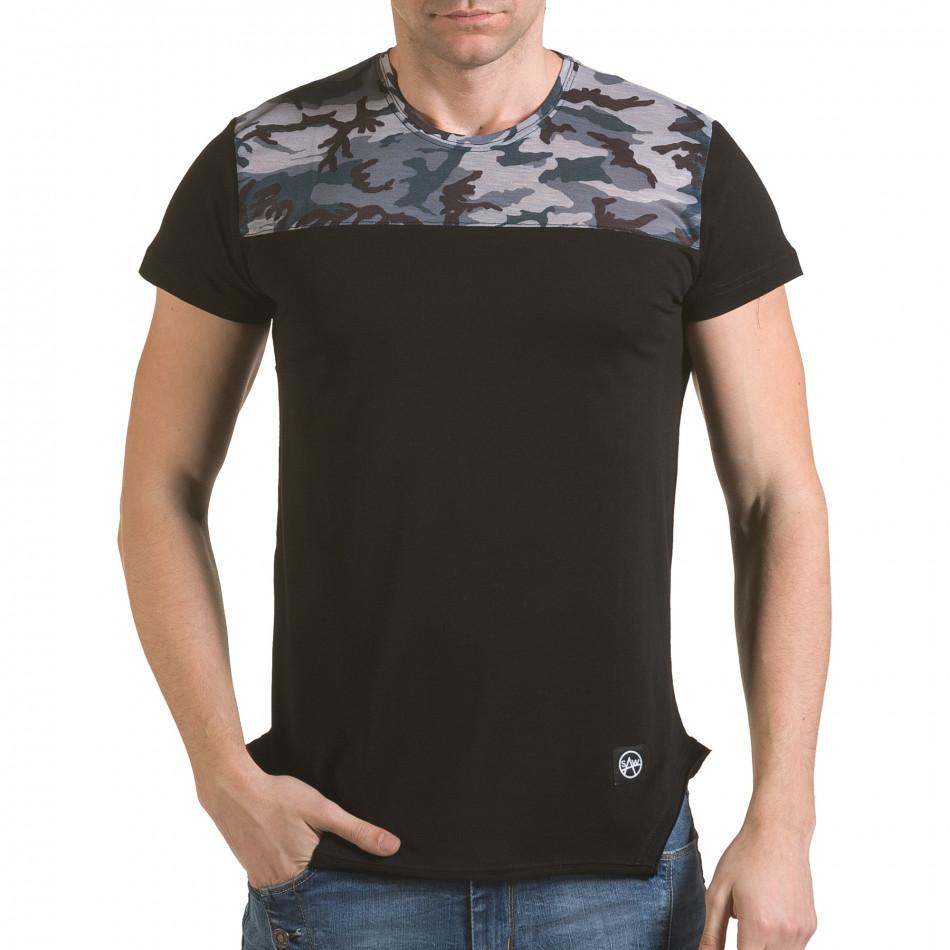 Мъжка черна тениска с камуфлаж на раменете il170216-52