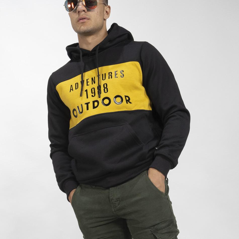 Мъжки суичър hoodie с жълт акцент it041019-50