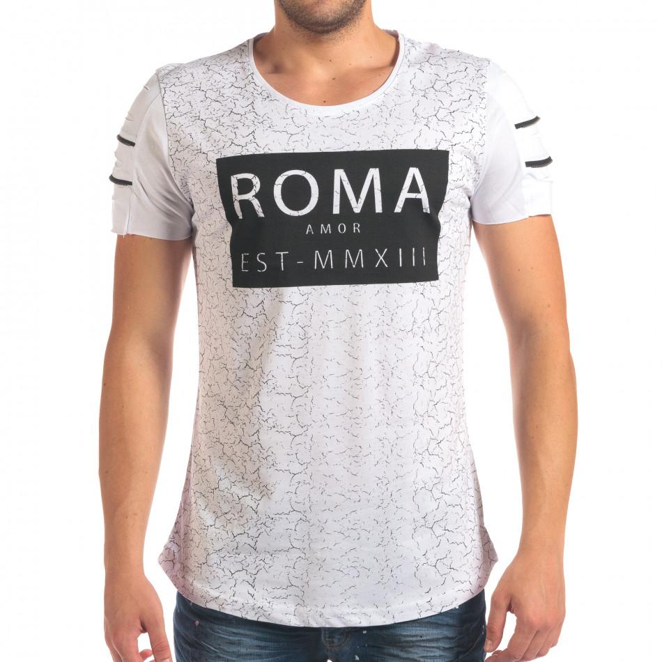 Мъжка бяла тениска с надпис и скъсвания на ръкавите il210616-9