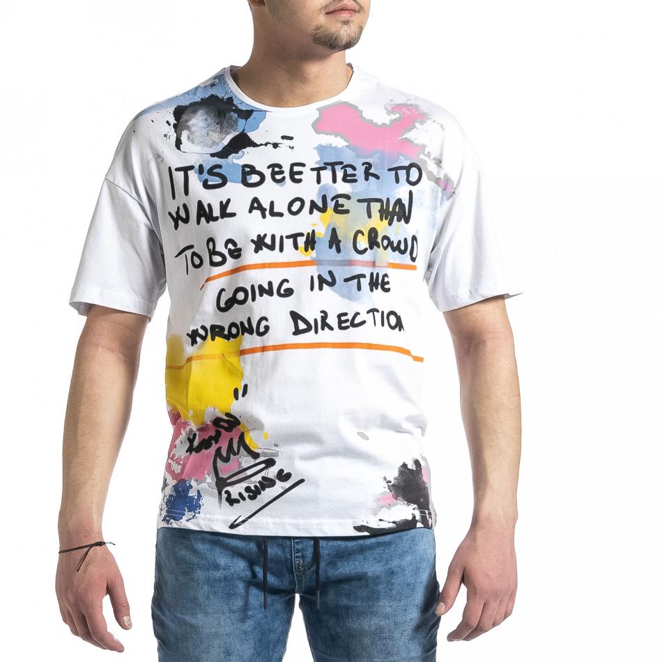 Бяла мъжка тениска с колоритен принт tr270221-47