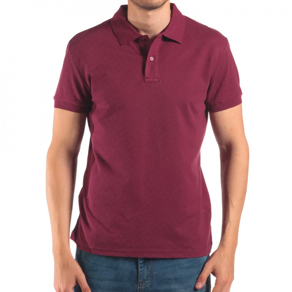 Мъжка червена тениска с яка изчистен модел it150616-37
