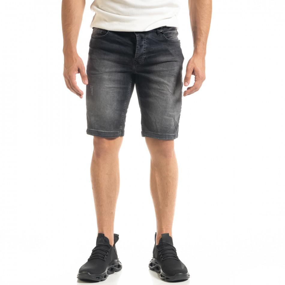 Washed мъжки черни къси дънки tr140520-1