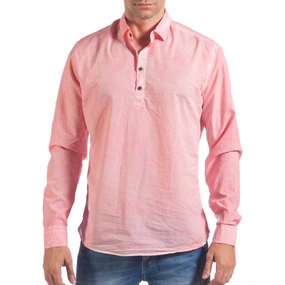 Мъжка розова риза със закопчаване до средата il060616-122