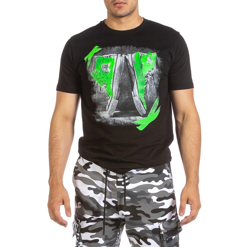 Мъжка черна тениска с графичен принт it240621-8