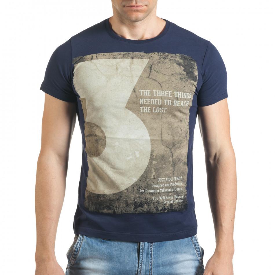 Мъжка синя тениска с номер 3 и щампа il140416-33