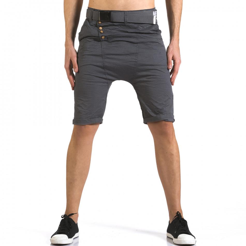Мъжки сиви къси панталони с колан it110316-44