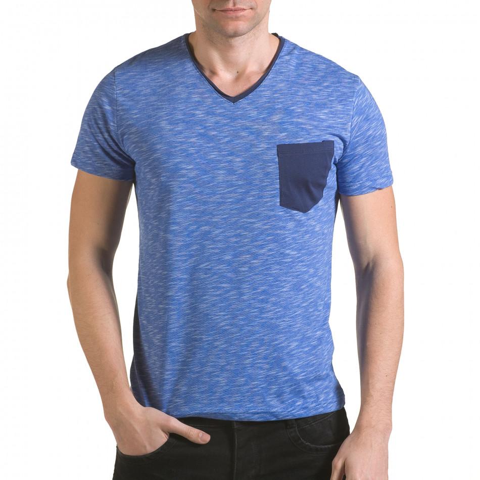 Мъжка синя тениска с тъмно син джоб il170216-14