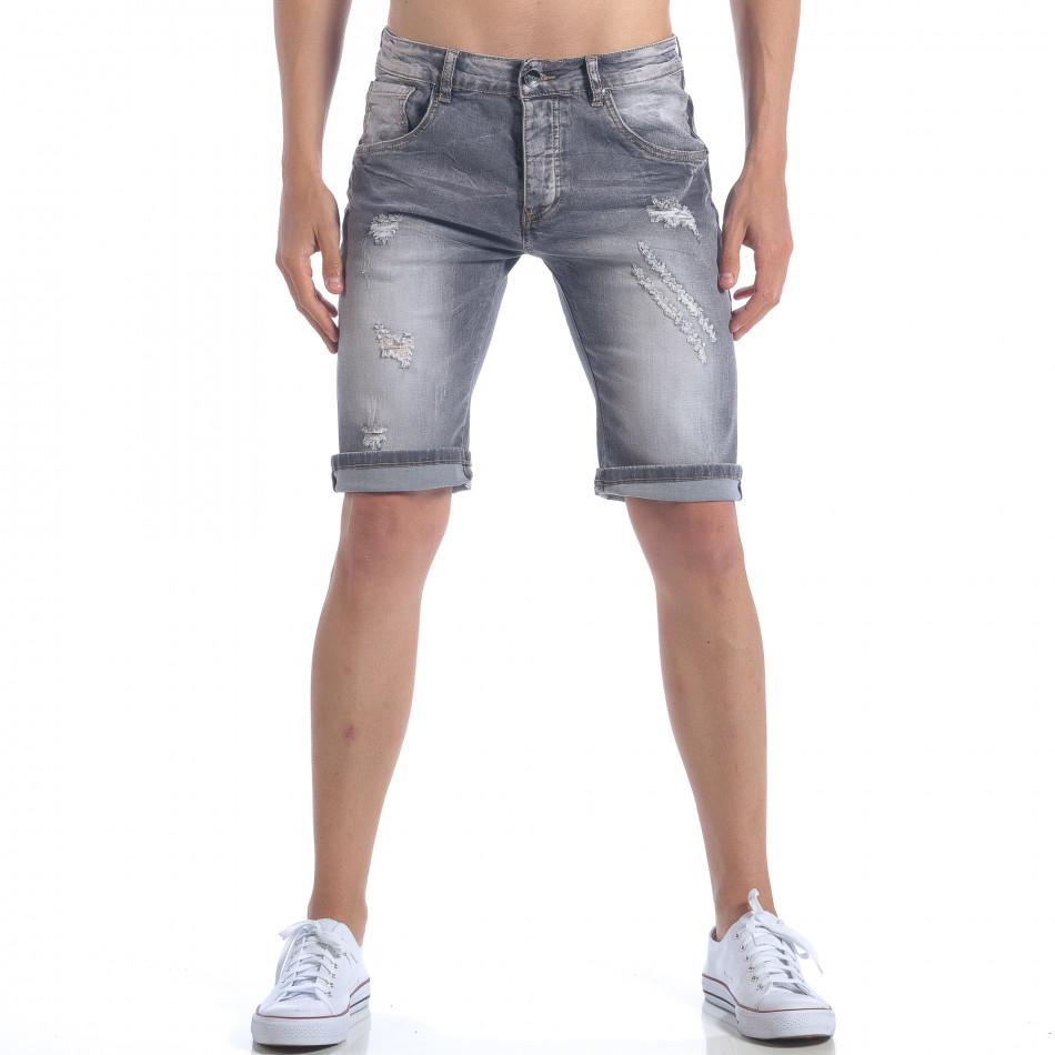 Мъжки сиви къси дънки с декоративни скъсвания it050617-32