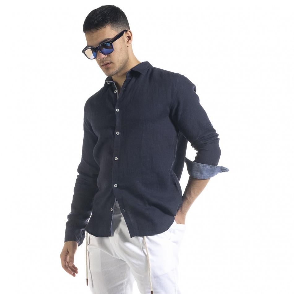 Ленена мъжка риза в тъмно синьо tr110320-93