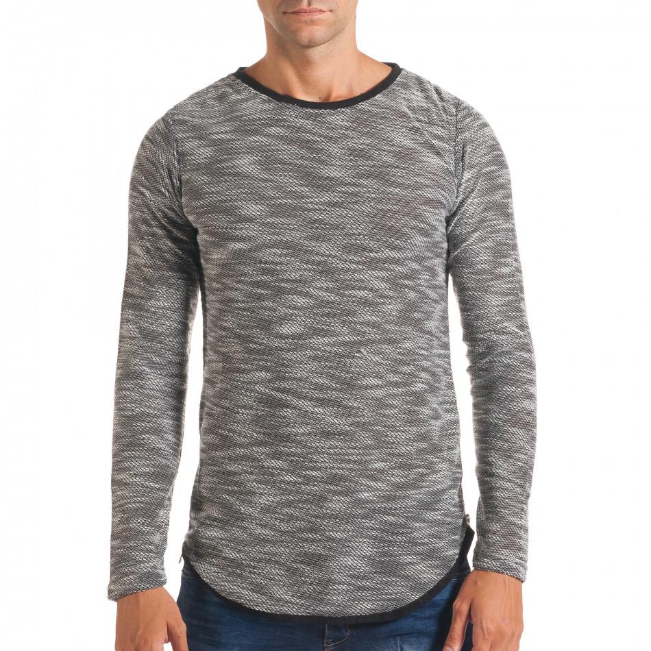 Мъжка светло сива блуза със странични ципове it180816-10