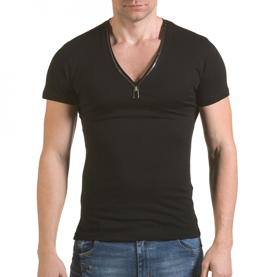 Мъжка черна тениска с цип на деколтето il170216-67