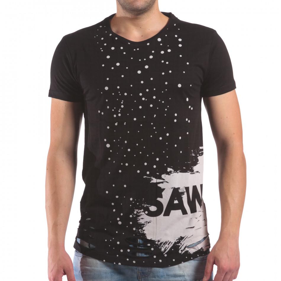 Мъжка черна тениска със скъсвания и хипарски принт il210616-24