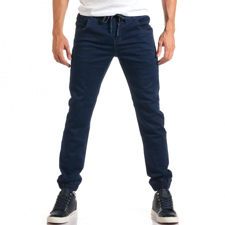 Мъжки тъмно сини дънки с ластик на кръста it160916-7