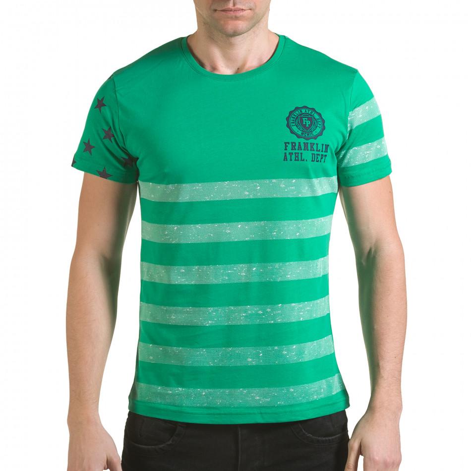 Мъжка зелена тениска с бели ленти il170216-11