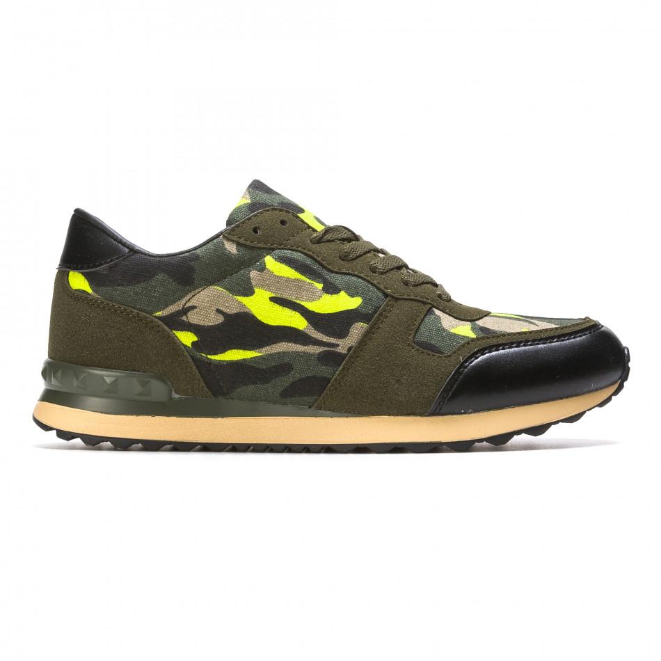 Мъжки маратонки зелен камуфлаж it090316-6