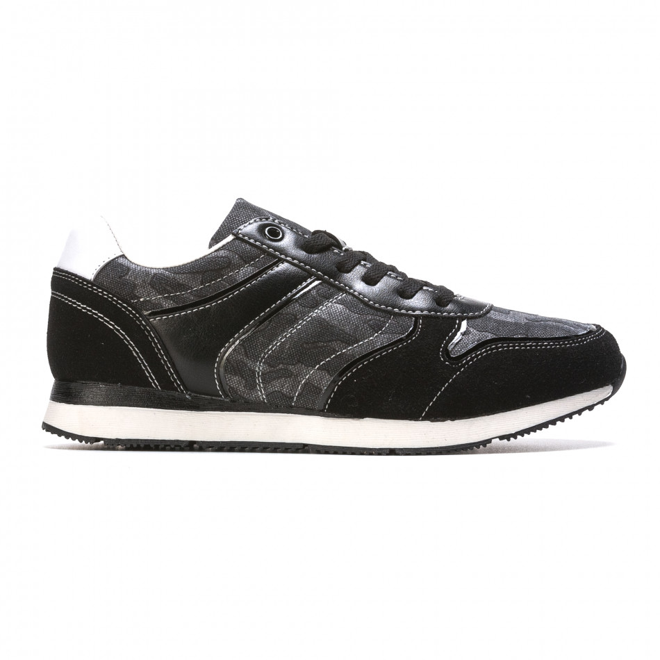 Мъжки маратонки черно-сив камуфлаж it090316-8
