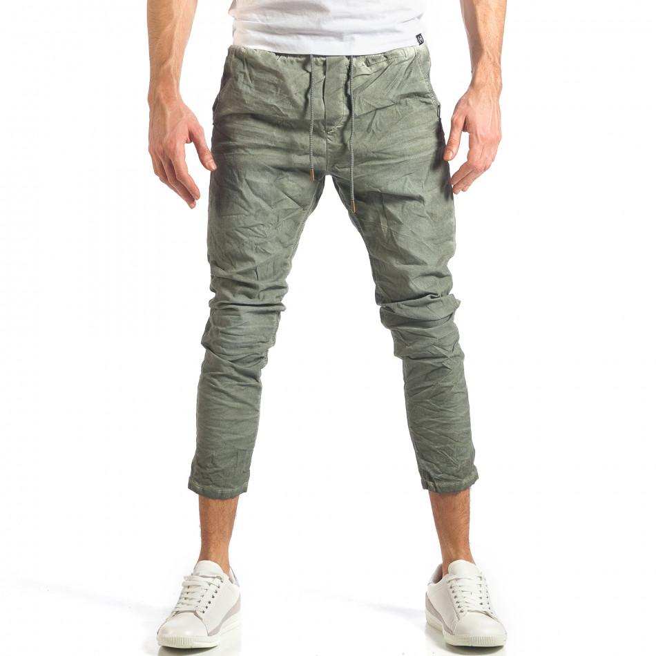 Мъжки зелен лек панталон на малки точици it290118-3