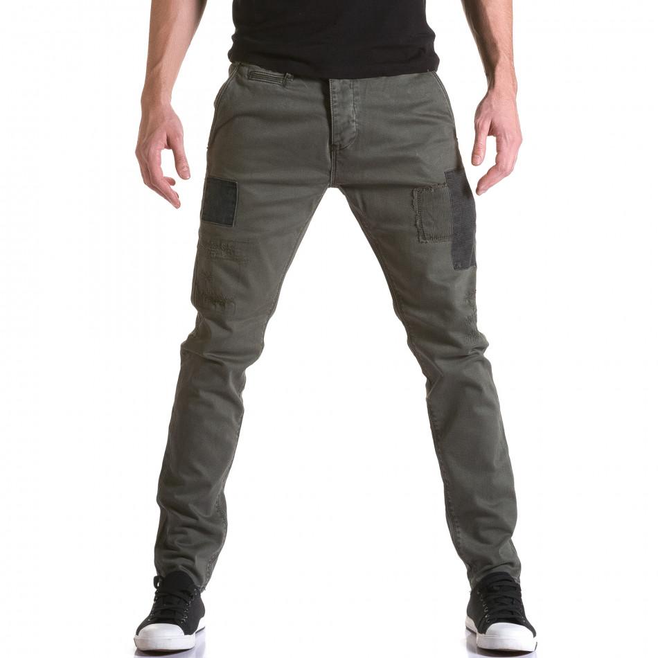 Мъжки зелен панталон с декоративни кръпки it031215-17