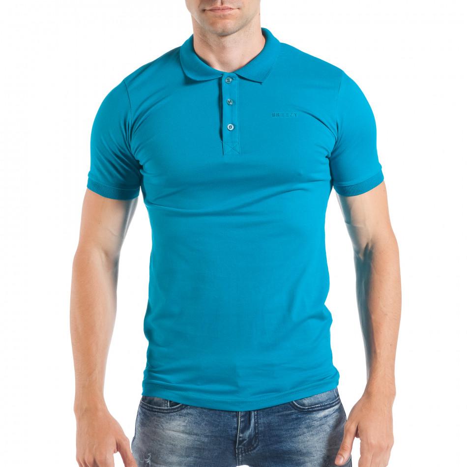 Мъжка тениска пике в ярко синьо tsf250518-37