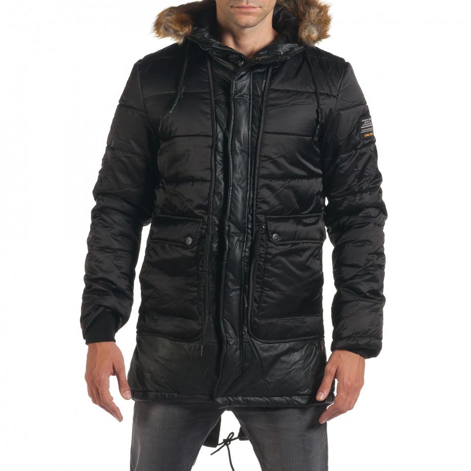 Мъжко дълго зимно яке в черно с връзки на кръста it190616-11
