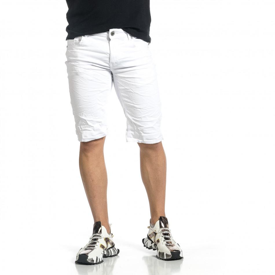 Мъжки бели намачкани къси дънки it150521-35